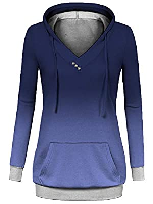 Alaroo Womens Casual Ombre Pullover Hoodies Sweatshirts with Button and Pocket