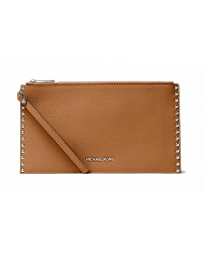 MICHAEL Michael Kors Astor Studded Large Leather Wristlet in Acorn by Michael Kors
