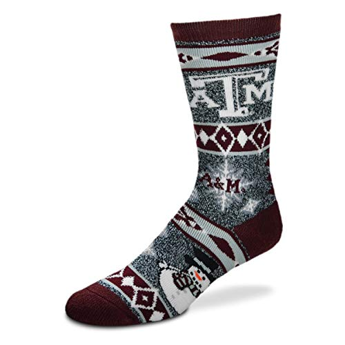 (For Bare Feet NCAA Ugly Christmas Holiday Snowman Socks-Texas A&M)