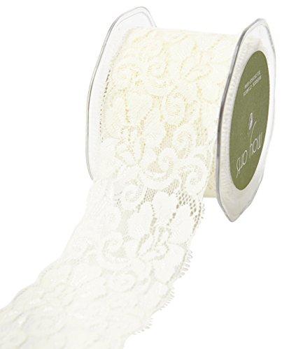 """May Arts 2.5"""" Elastic Lace Ribbon, 10 yd, Ivory"""