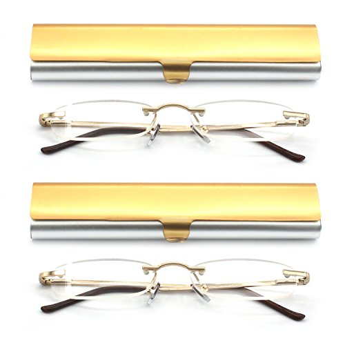 EYE-ZOOM 2 Pack Metal Rimless Reading Glasses with Spring Hinge Lightweight Slim Gold and Silvery Aluminum Case Reader for Comfort Fit Men and Women Choose Your Magnification - Small Rimless Glasses