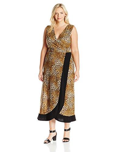 Star Vixen Women's Plus Size Sleeveless Knit Surplice Maxi Dress with Wrap-Effect Skirt Bottom, Leopard/Black, 1X
