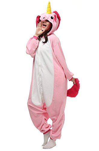 Mybei Adults Unisex Unicorn Onesie Pajamas Animal Costume Sleepwear for Women L
