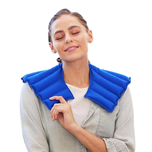Wrap Shoulder Therapy Heat (My Heating Pad - Neck and Shoulder Wrap for Anxiety, Tension, Headache Relief-Microwavable & Reusable Hot Therapy Pack (Blue))