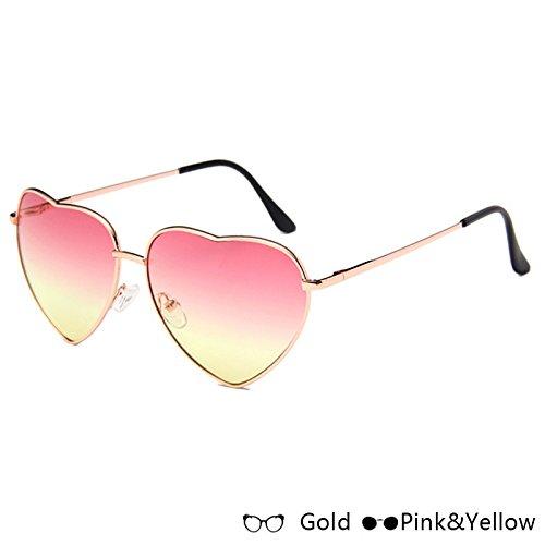 Atrás Gafas W Gafas Moda Corazón Azul Rosa Pink De Yellow De Oro Gold De En Sol Forma W De Mujer Lujo Sol TIANLIANG04 De OHxvwO