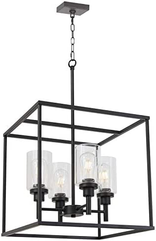 VINLUZ 4 Light Hanging Lantern Pendant Light Black Industrial Cage Dining Room Chandelier