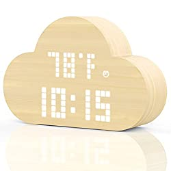 PlusDot Wooden Alarm Clock, Wood LED Digital Clock with 3 Levels Adjustable Brightness + USB Rechargeable Battery + Time Temperature and Humidity Display, Voice Activated LED Clock for Bedrooms Decor