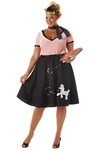 [California Costumes Women's Plus-Size 50's Sweetheart Plus, Pink/Black, 3X] (Poodle Skirt Costume Plus Size)