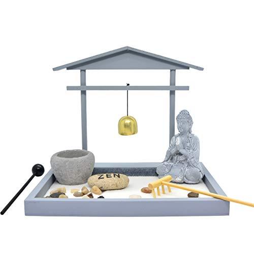 - HOMELEX Zen Rock Garden, Buddha Sculpture Bell Rake Sand Candle Incense Burner Tray Gift (SCZ-02)