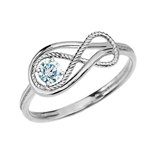 Aquamarine March Birthstone Rope Infinity 10k White Gold Ring(Size 7)