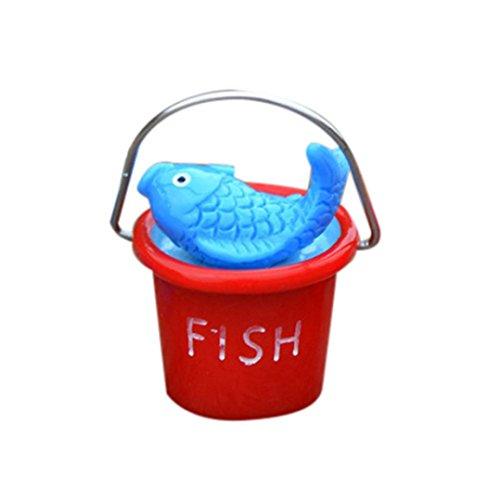 Small Beach Bucket Decor -Fheaven DIY Resin Miniature Beach Bucket Craft Accessory Home Garden Decoration Accessories (red)