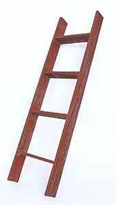 BarnwoodUSA Rustic 4 Foot Bookcase Ladder – 100% Reclaimed Wood, Red