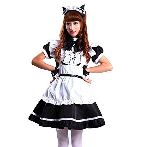VSVO Women's Cat Ear French Maid Cosplay Dress Halloween Costume (Larger, Black)
