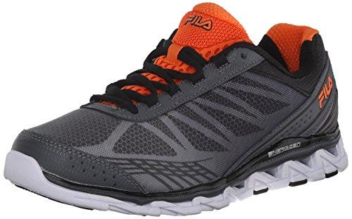 Black Orange Red Mens Sneakers - Fila Men's Romeo 2 Energized Running Shoe, Castlerock/Black/Red Orange, 11.5 M US