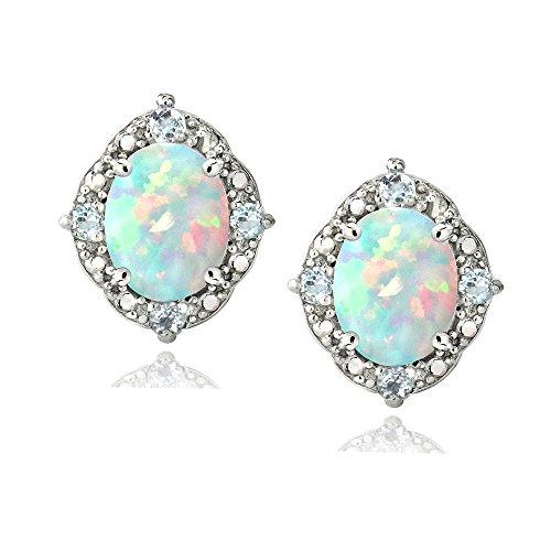 En argent sterling avec accents de diamant en Opale Blanc et Bleu Topaze ovale boucles d'oreilles clous