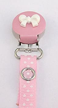 Clip para chupete para niñas, diseño de lunares, color rosa