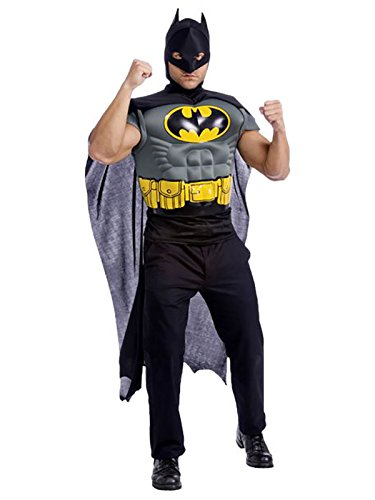 Batman Muscle Chest Top Costume for Adults, White, One (White Batman Costumes)