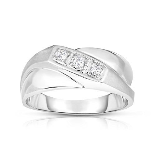 Noray Designs 14K White Gold Diamond (0.15 Ct, I1-I2 Clarity, G-H Color) Men's 3-Stone Ring by Noray Designs