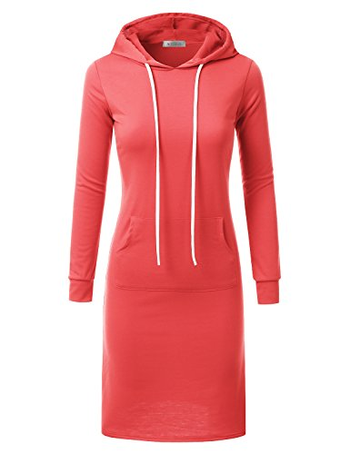 Doublju Hoodie Midi Dress for Women with Plus Size (Made in USA) DARKCORAL (Hooded Sweater Dress)