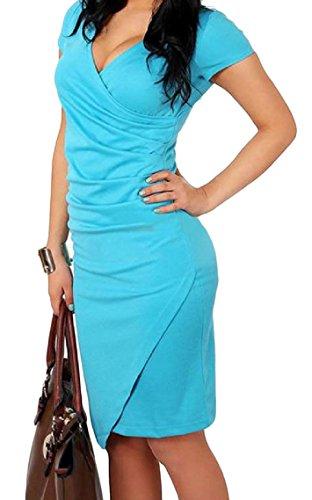 Coolred-femmes Confortable Bodycon Irrégulière Couleur Unie Sexy Mi Bleu Ciel Longueur Robe