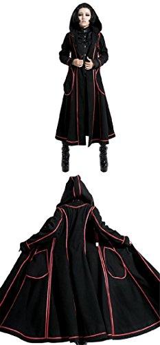 Gothic Lolita Style Woolen Fur Coat Steampunk Autumn Winter Fashion Long Sleeve Hooded Long Jackets (L, Black) by Punk (Image #4)