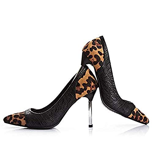 (LUOLAN Women Sexy Leopard Pumps Shoes,Pointed Toe 3.1 Inch/8cm High Heels Stilettos Club Dress Shoes (8 M US))