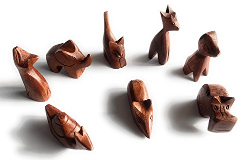 8 Wood Animals statues by Eyes of the World includes Cat, Dog, Mouse, Elephant, Snail, Cat looking up, Dog, and Hippo. Imagination play Party favor's pretend play ZOO Africa animals (Wood Animal)