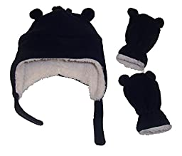 N\'Ice Caps Boys Sherpa Lined Micro Fleece Hat and Mitten Set with Ears (3-6 Months, Infant - Navy)