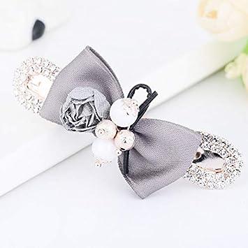 e1e4fed80d1d9 Pearl Flower Bowknot Hair Accessories Hair Clips Jewelry Womens Fashion  Metal Alloy Hair Pin Headwear Gray