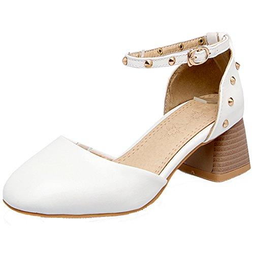 Aiyoumei Femmes Bout Rond Talon Mi-talon Pompes À Sangle Avec Des Rivets Et Boucle Chaussures Modernes Blanc