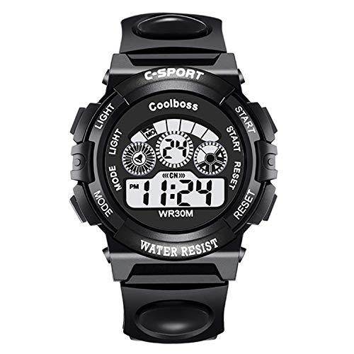 Tenka Kid Watch for Boy Girl LED Multi Function Fashion Sport Outdoor Digital Wristwatch Dress Waterproof Alarm Black