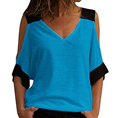 TWGONE V Neck T Shirts Women Stitching Off-Shoulder Summer Top Blouse