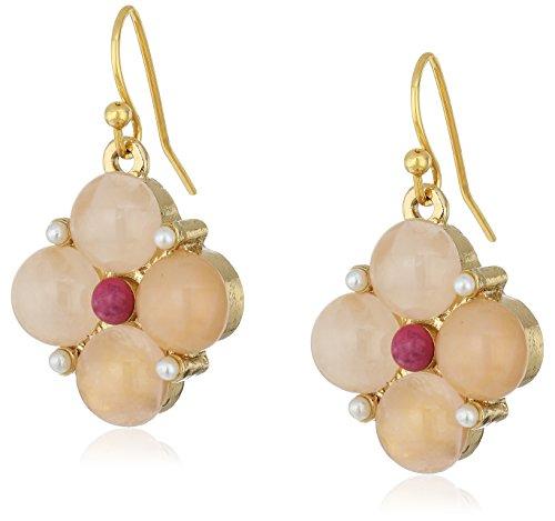 1928 Jewelry Gold-Tone Semi-Precious Pink Moonstone Drop Earrings