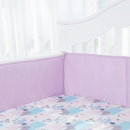 TILLYOU Padded Baby Crib Bumper, Premium Woven Cotton and Breathable Fill-in(Microfiber) Standard Crib Liner, Safe Soft & Machine Washable, 4 Piece/Lavender Purple (Aqua And Purple Crib Bedding)