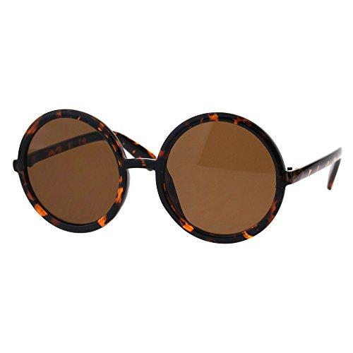 - Womens Wizard Round Circle Lens Plastic Mod Fashion Sunglasses Tortoise Brown