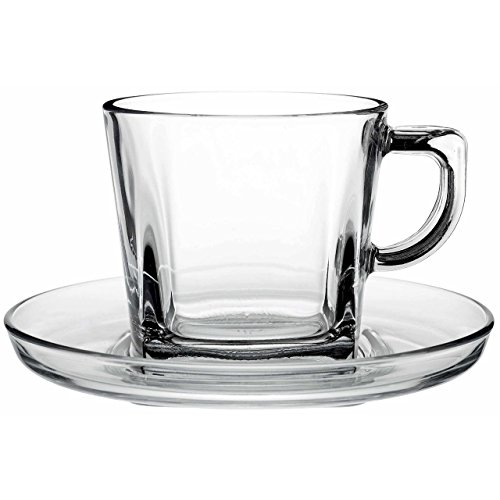 Pasabahce 95307, 7 oz Tea Coffee Cup with Saucer, Clear Glass Tea Cups with Matching Saucers, Cup & Saucer, Set of 12 (6 cups + 6 saucers)
