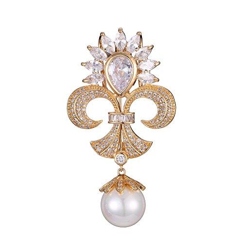 Fleur De Lis Gold Brooch - Eseres Gold Fleur-de-lis Brooches and Pins Zircon Brooch with Pearl