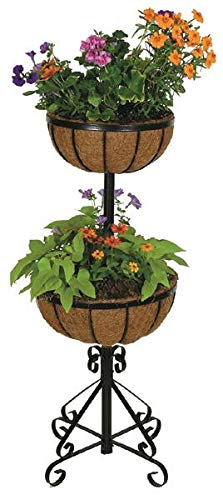 Gardman R525 Two Tier Forge Planter with Coco Liners, Black, 14