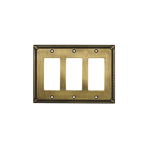 Gold 3 Light Wall (Rok Hardware Wall Light Decora Switch Plate Rocker Toggle GFCI Cover Traditional Antique Gold 3 Gang)
