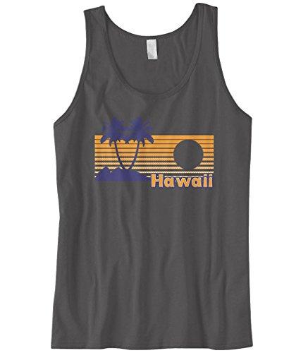 Cybertela Men's Hawaii Hawaiian Hi Sunset Beach Palm Tree Tank Top (Charcoal, Medium)