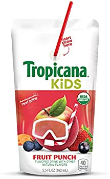 32 Count Tropicana Kids Organic Juice Drink Pouch, Fruit Punch