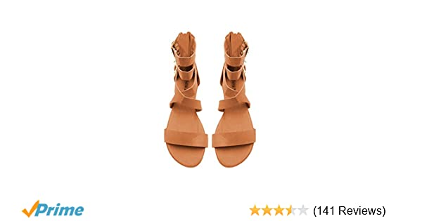 3753cdb0afe5 Amazon.com  Sara Z Womens Triple Ankle High Wide Strap Flat Gladiator  Sandals with Back Zipper  Shoes