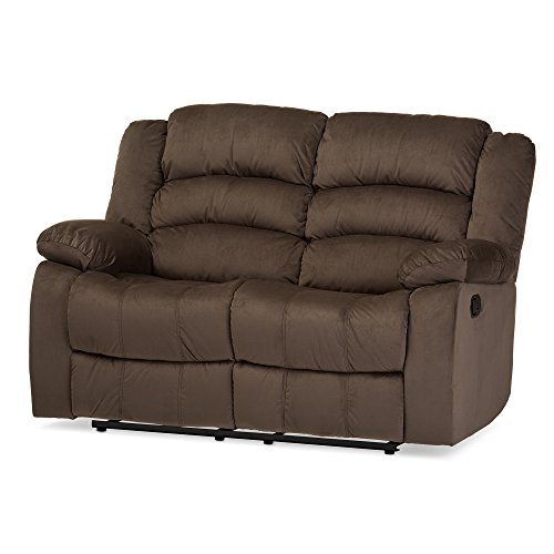 Baxton Studio Bevis Modern & Contemporary Micro Suede 2 Seater Recliner, Brown