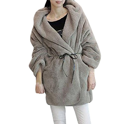 Tsmile Fashion Women Coat Winter Faux Fur Top Warm Poncho Hooded Fluffy Fleece Jacket Outerwear (Cashmere Slacks)