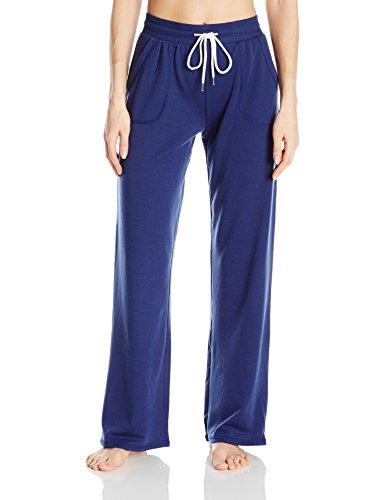 (Tommy Hilfiger Women's Wide Leg Lounge Bottom Pajama Pant PJ, Medieval Blue, L)