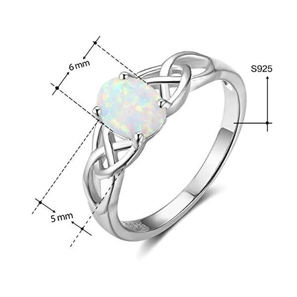 Anello in argento Sterling 925 con opale di fuoco a taglio ovale e nodo celtico, ideale come anello di fidanzamento