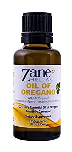 ZANE HELLAS Wild Pure Greek Essential Oil of Oregano 86 Percent Minimum Carvacrol, 129 mg Carvacrol Per Serving, 1 fl oz, 30 ml