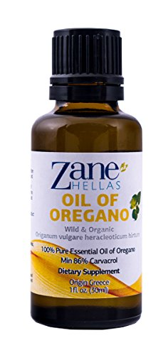 ZANE HELLAS  Wild Pure Greek Essential Oil of Oregano 86 Percent Minimum Carvacrol, 129 mg Carvacrol Per Serving,  1 fl oz, 30 ml
