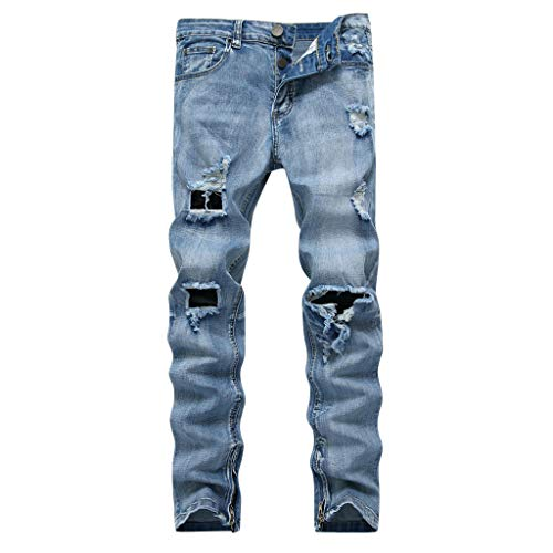 iHPH7 Jeans Ripped Slim Fit Tapered Leg Loose Casual Fashion Hip Hop Street Dance Denim Trousers Men (40,Blue)