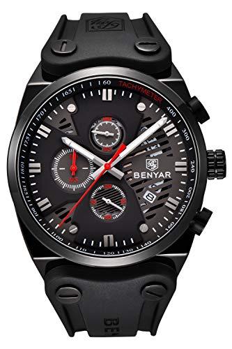 - BENYAR Watch Men's Business Casual Sport Chronograph Quartz Waterproof Brown Leather Strap Watch for Men (Black red 2)